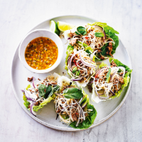 Larb noodles with passion fruit chilli dressing