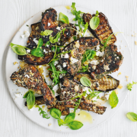 Lamb chops with feta and chargrilled aubergine