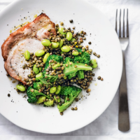 Pork with lentil, soya bean & broccoli salad