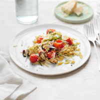 Roasted aubergine with orzo and basil