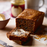 Sticky fruit and lapsang malt loaf