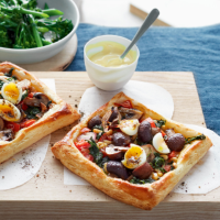 Spinach, mushroom and quail's egg tarts