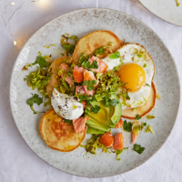 Scotch cakes with hot-smoked salmon, crispy sprouts, avocado and egg