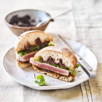 Elly's tuna steak ciabatta sandwich with caramelised onion & black olive tapenade