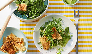 Pea, spinach and filo salad with avocado dressing