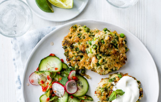 prawn, pea & rice fritters with Asian-style salad