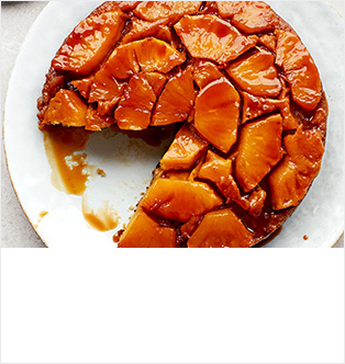 Pineapple, lime & coconut upside-down cake