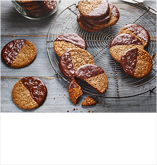 Chocolate-dipped sea salt & rye digestives