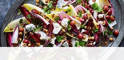 Chicory, roasted grape and goats' cheese salad