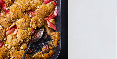 Apple & rhubarb cobbler