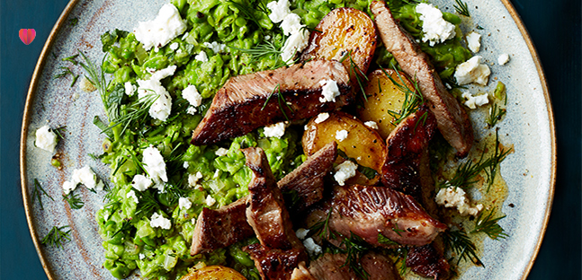 Lamb leg steaks with crushed peas, dill & feta