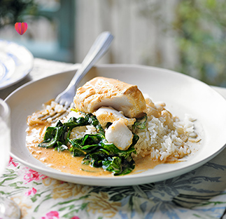 Coconut cod with spinach