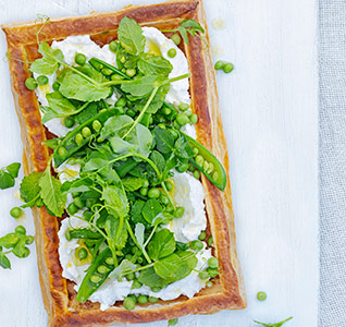 Ricotta tarts with mint and three-pea salad