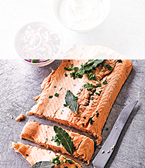 Poached salmon with  pickled onion & horseradish sauce