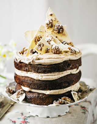 Martha's coffee, white chocolate & walnut cake