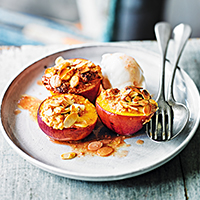Almond-baked golden nectarines