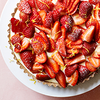 Strawberry, mascarpone & lemon curd tart