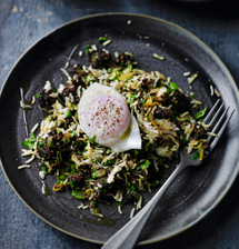 Black pudding kedgeree with poached eggs