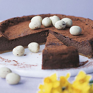 Baked chocolate Easter cheesecake