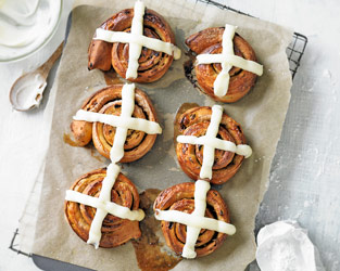 Martha's hot cross bun cinnamon rolls