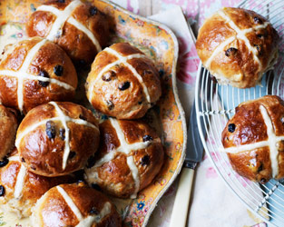 Marzipan hot cross buns