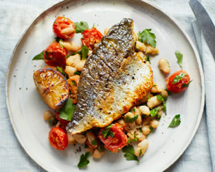 Pan-fried sea bream with cannellini beans and tomatoes