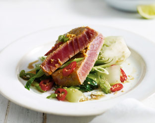 Simple seared tuna with chilli and pak choi