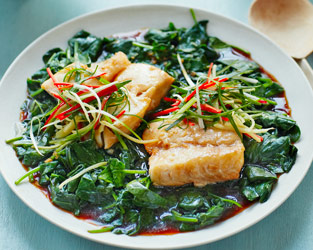 Baked cod loin with sizzling spinach, ginger and chilli