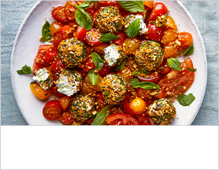 Tomato salad with summer herb labenh and dukkah
