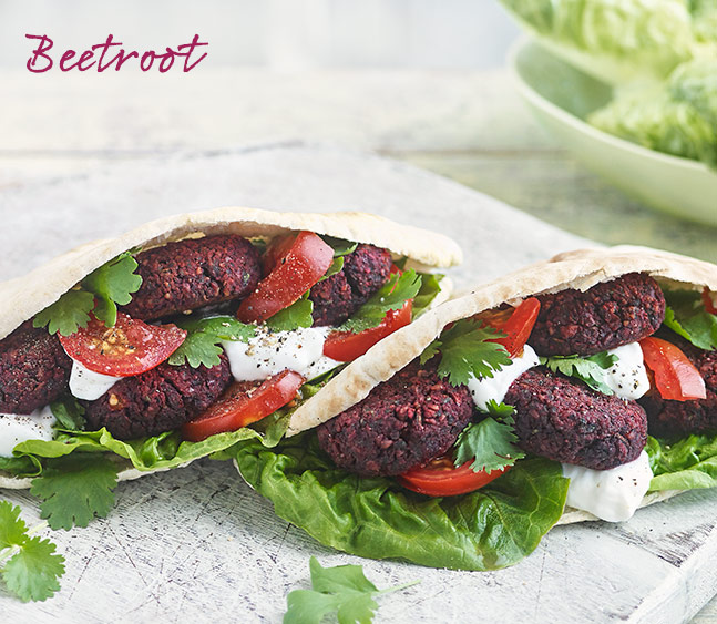 Chickpea, walnut and beetroot falafel