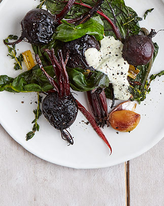 Roast beet parcels with green aioli
