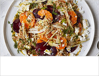 Warm salad of clementine, fennel and barley