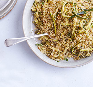 Shredded courgette and couscous salad