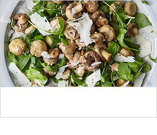 Herby mushroom and shaved pecorino salad with rocket