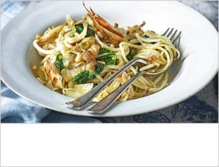 Linguine with shaved parsnips, spinach and pine nuts