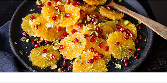 Pomegranate, orange and pistachio salad with orange blossom