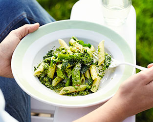 Purple sprouting broccoli penne with watercress pistou