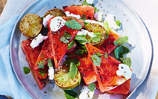 Barbecued watermelon salad