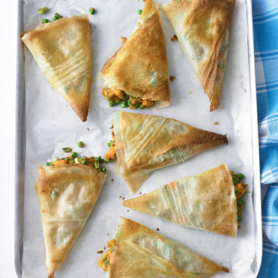Pea and sweet potato samosas