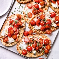 Balsamic roasted cherry tomato & ricotta flatbreads