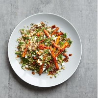 Carrots, feta & grains with pomegranate molasses