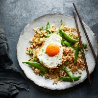 Cheat's XO fried rice with fried eggs