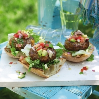 Dill pickle beef burgers with avocado salsa