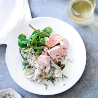 Dill-poached salmon with creamy potato salad