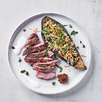 Lamb with stuffed aubergines