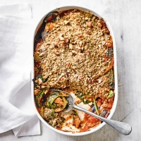 Mixed vegetable with crunchy almond crumble