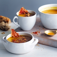 Pumpkin and parma ham soup