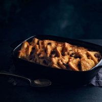 Rum and raisin bread and butter pudding