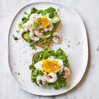Skagen prawns, eggs & watercress on rye
