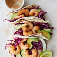 Smoky prawn & avocado tacos